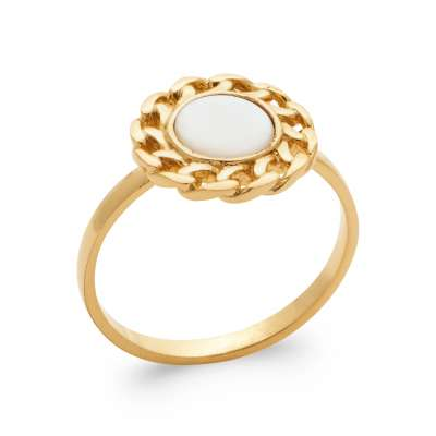 Ring fine Mother of pearl Gold plated 18k 5 Microns - Women