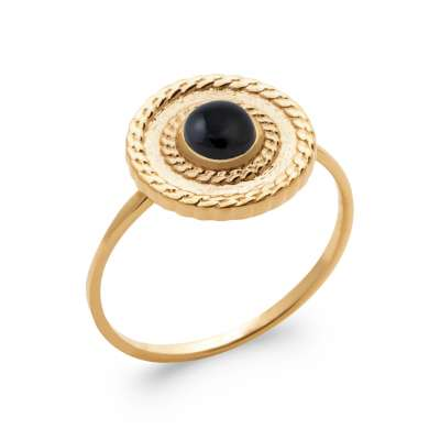 Ring fine Agate Black Gold plated 18k 5 Microns -  - Women