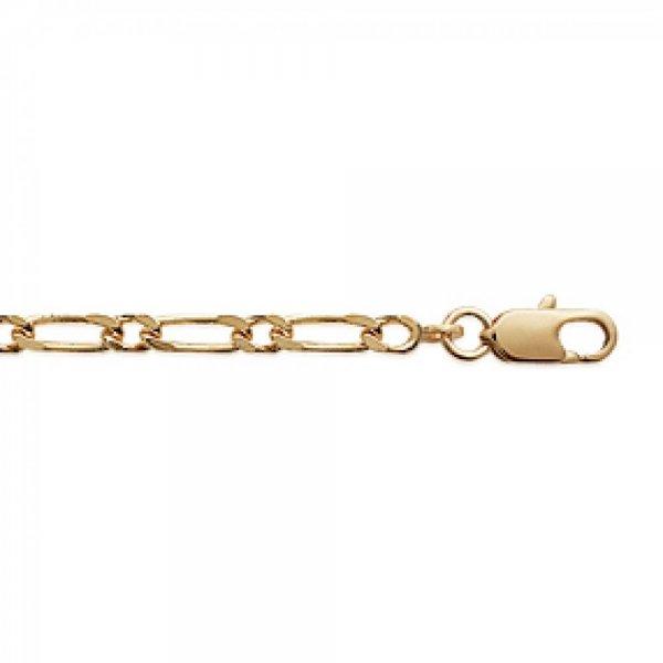 Bracelet chaîne Figaro Plaqué Or - Homme/Femme - 21cm