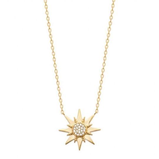 Collier étoile Plaqué Or - Oxyde de zirconium - Femme - 45cm