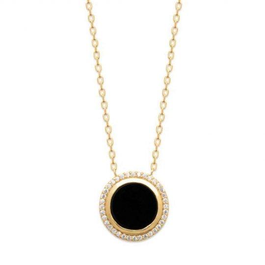 Collier rond noir Plaqué Or - Oxyde de zirconium - Femme - 45cm