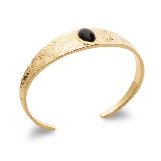 Bangle Agate Black Gold plated 18k - Women - 58mm