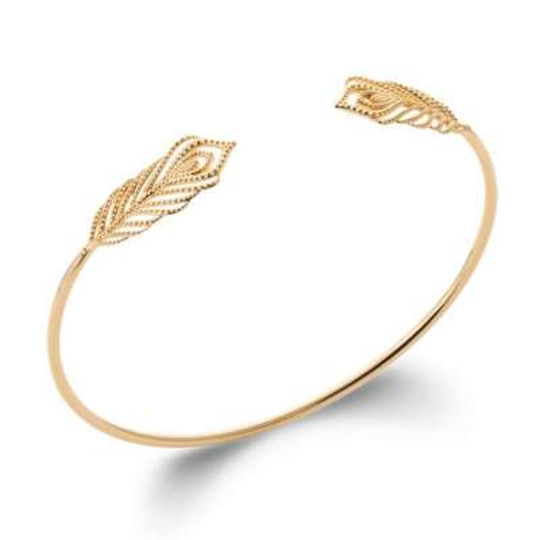 Bracciale Bangle Piuma Placcato in oro 18k - Donna - 58cm
