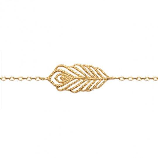 Pulsera Pluma Chapado en Oro 18K - Mujer - 18cm 16cm
