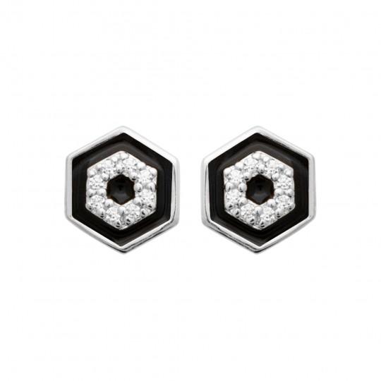 Earrings Argent Rhodié - Émail Cubic Zirconia - Women