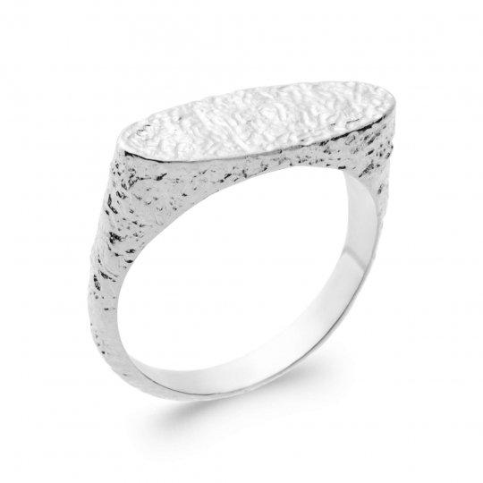 Ring jarretière martellée Argent Rhodié - Women