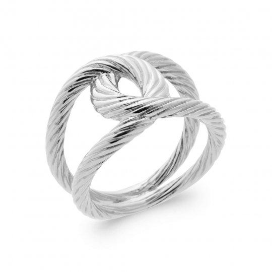 Ring entrelacée corde Argent Rhodié - Women