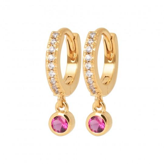Hoop Earrings Gold plated 18k - Pierre de synthèse Cubic...