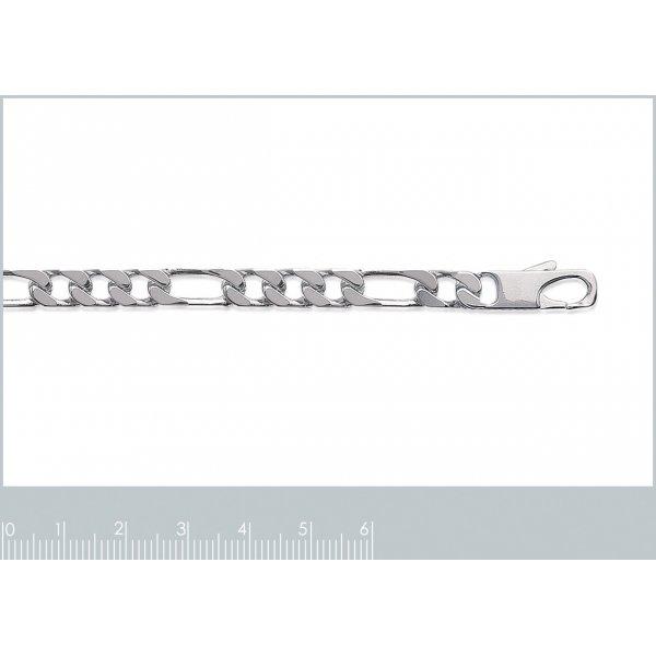 Catena Figaro Argento Sterling 925 Rodiato - Uomo - 55cm