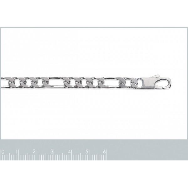 Catena Figaro Argento Sterling 925 Rodiato - Uomo - 60cm