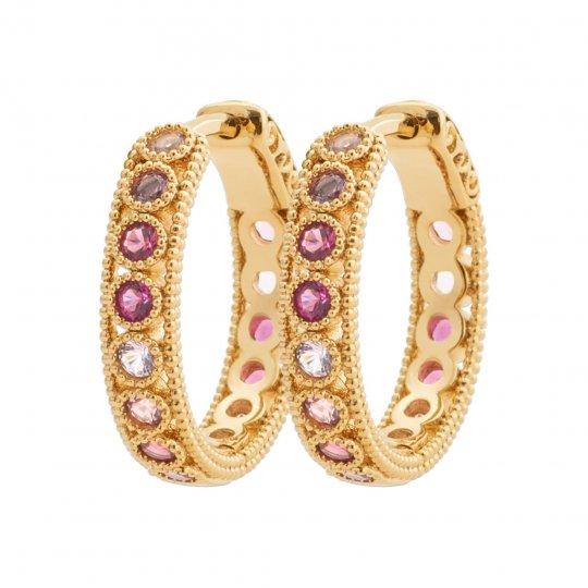 Hoop Earrings Gold plated 18k - Pierre de synthèse - Women