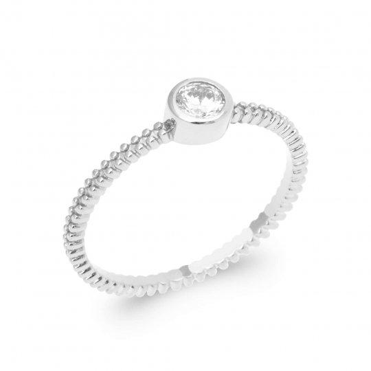 Ring Argent Rhodié - Cubic Zirconia - Women