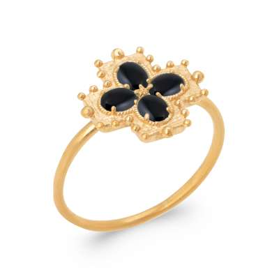 Ring Gold plated 18k 5 Microns - Agate Black - Women