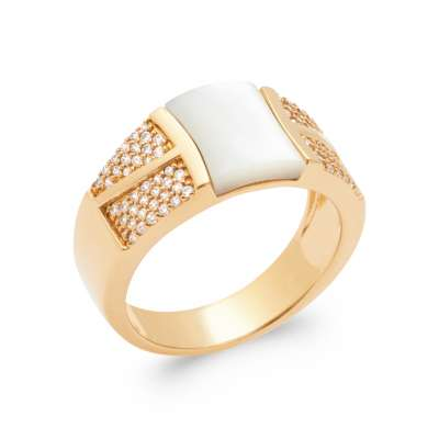 Ring Gold plated 18k 5 Microns - Mother of pearl Cubic...