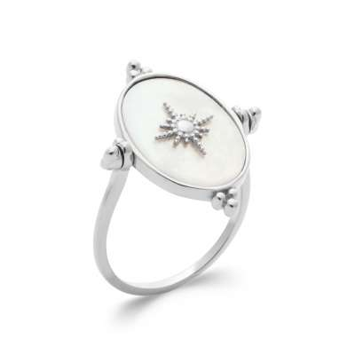 Ring Argent Rhodié - Mother of pearl - Women