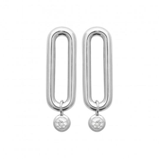 Boucles d'Oreilles Argent Rhodié - Oxyde de zirconium -...