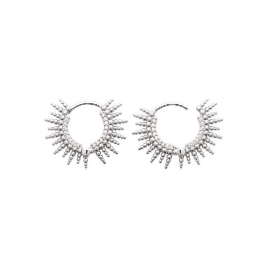 Hoop Earrings soleil Argent Rhodié - Cubic Zirconia - Women