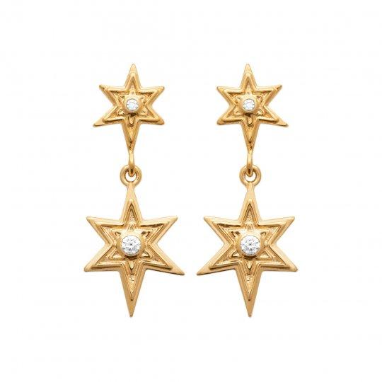 Boucles d'oreilles étoiles pendantes Plaqué Or - Oxyde de zirconium