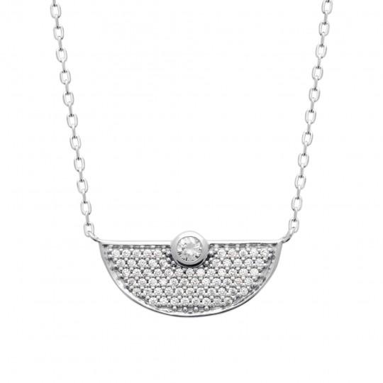 Necklace Argent Rhodié - Cubic Zirconia - Women - 45cm