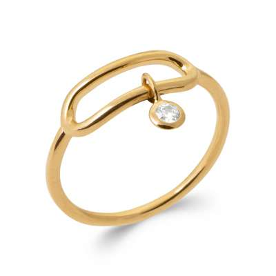 Ring Gold plated 18k 5 Microns - Cubic Zirconia - Women