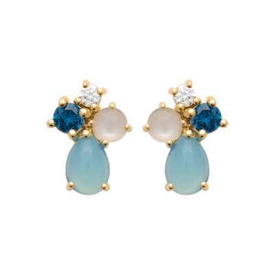 Earrings Gold plated 18k - Pierre de Lune - Agate Bleue -...