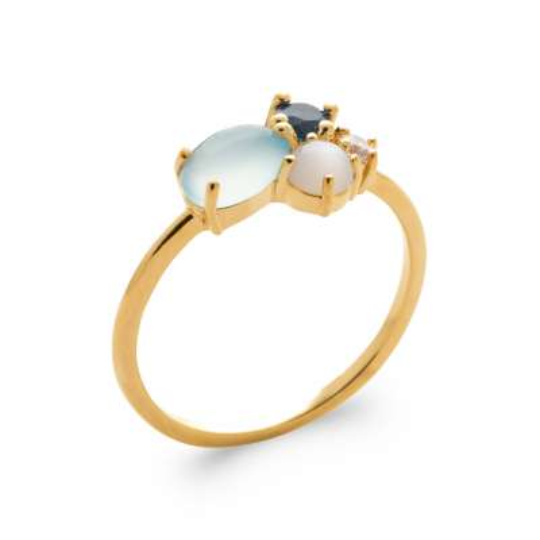 Anello Placcato in oro 18k 5 Micron - Agate bleue - Pierre de lune - Oxydes de zirconium