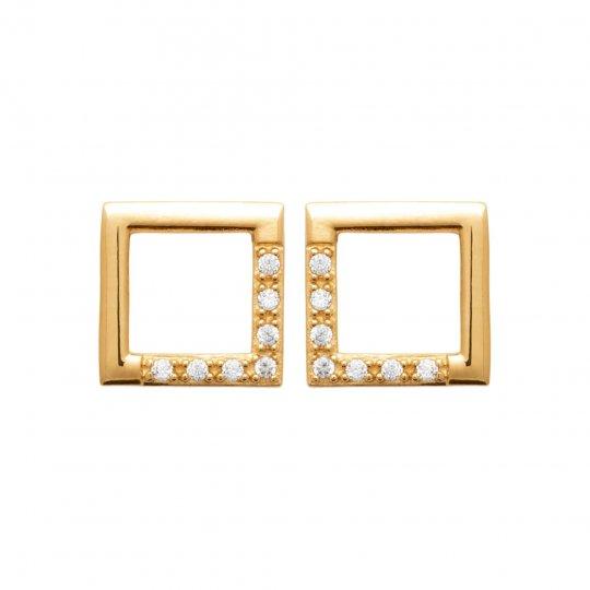 Earrings carrés Gold plated 18k - Cubic Zirconia - Women