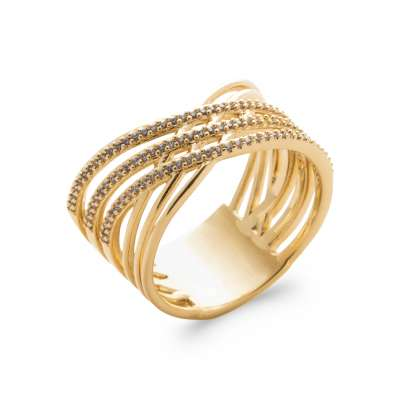 Ring croisée Gold plated 18k 5 Microns - Cubic Zirconia -...