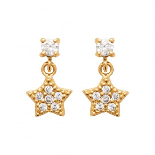 Earrings étoile Gold plated 18k - Cubic Zirconia - Women