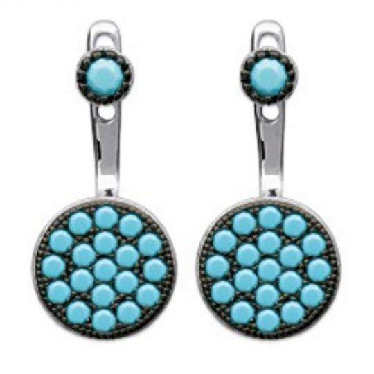 Boucles d'oreilles sous lobe argent rond pierres d'imitation turquoises - Rhodié