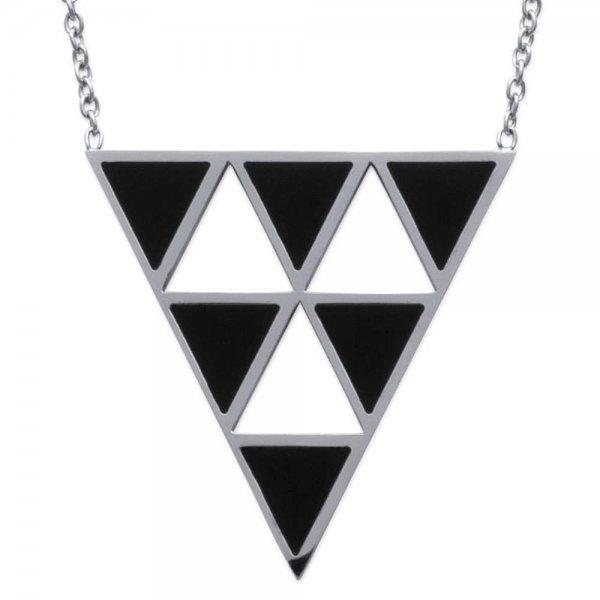 Collier triangles noirs Acier 316L - Femme - 50cm
