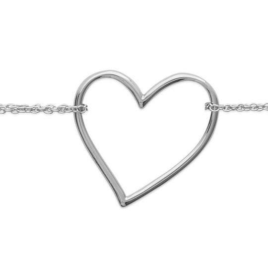 Bracelet double rangs coeur Acier 316L - Femme - 16/18cm