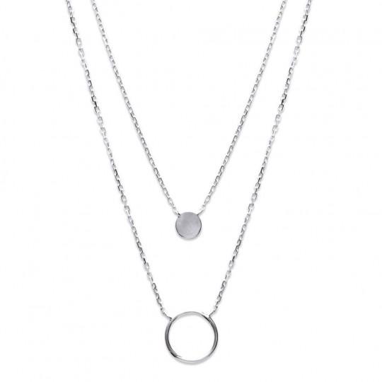 Double Collar Anneaux Plata de Ley Rodiada - Mujer - 40cm