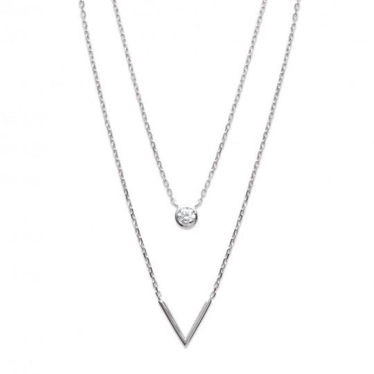 Collier 2 rangs en V Argent Rhodié - Oxyde de Zirconium - 45cm