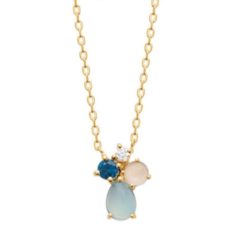 Necklace Gold plated 18k - Agate bleue - Pierre de lune - Oxydes de zirconium - 45cm