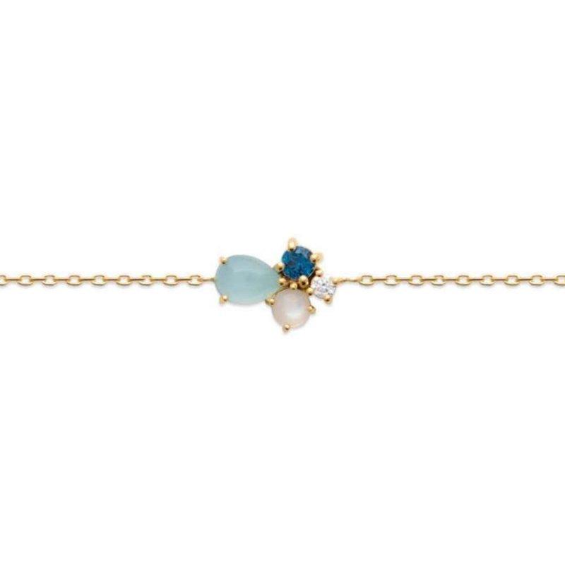 Bracelet Gold plated 18k - Agate bleue - Pierre de lune - Oxydes de zirconium - 16/18cm