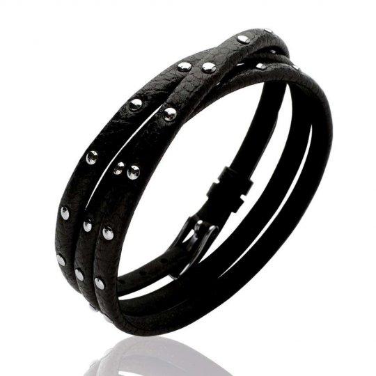 Bracelet multirangs gothique cuir noir - Femme - 60mm