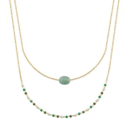 Collier Double Plaqué Or - Aventurine & Perles de Miyuki - 45cm