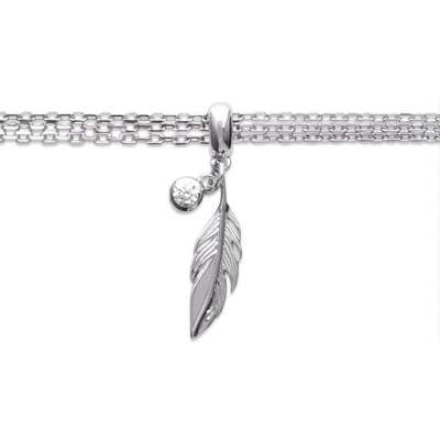Bracelet Breloque Feather Argent Rhodié - Cubic Zirconia...