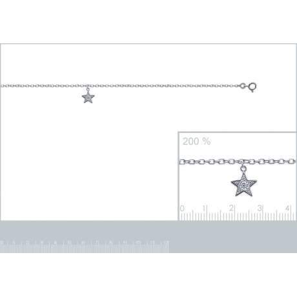 Cavigliere étoile Argento Sterling 925 Rodiato - Zirconium - 25cm