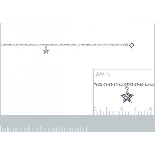 Chaîne de cheville étoile Argent Massif Rhodié - Zirconium - 25cm