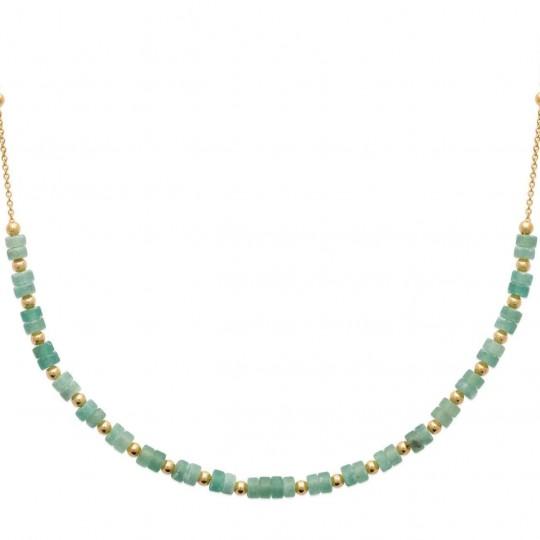 Collier Plaqué Or - Quartzite vert - Femme - 45cm