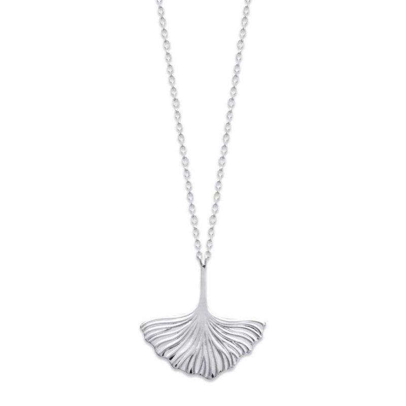 Halskette Ginkgo biloba Argent Rhodié - Damen - 45cm