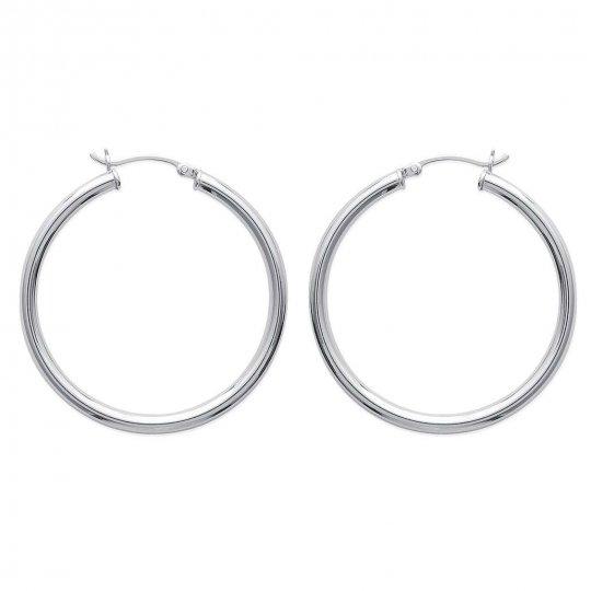 Hoop Earrings Argent Rhodié 40mm Traditionnelles -...