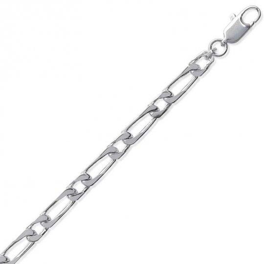 Bracelet chaîne Figaro Argent Massif - Homme/Femme - 21cm