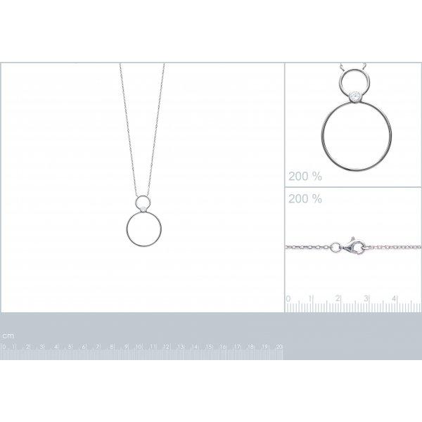 Collier Anneaux Argent Rhodié - Oxyde de Zirconium - Femme - 45cm