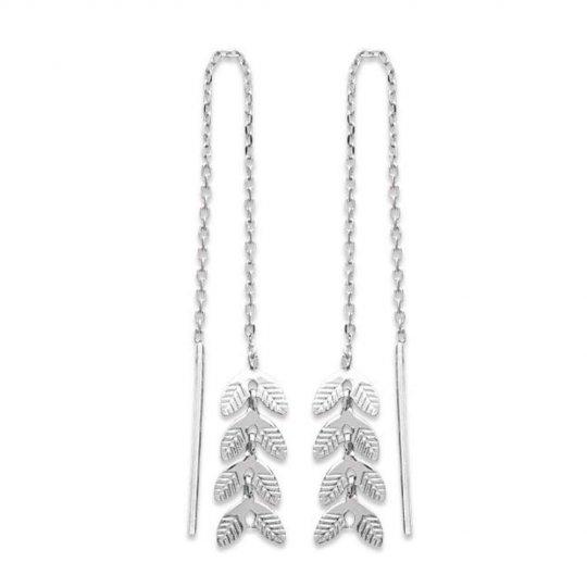Earrings Bay leaf Chain Traversante Argent Rhodié - Women