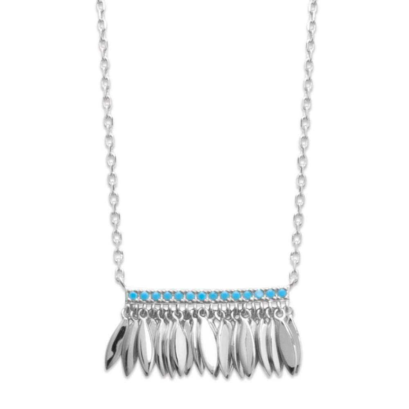Collana breloques Piumas Argent - Pierres d'imitation bleues turquoises - 45cm