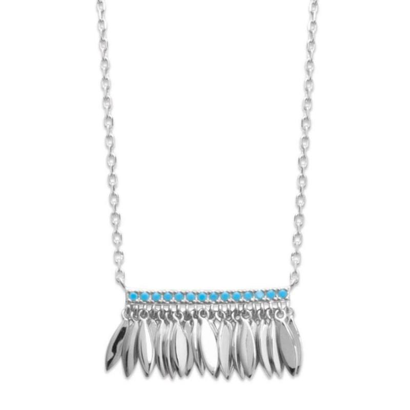 Collar breloques Plumas Argent - Pierres d'imitation bleues turquoises - 45cm