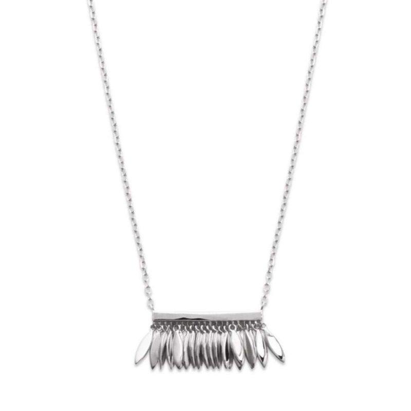 Halskette breloques Feders aztèque Argent Rhodié - Damen - 45cm